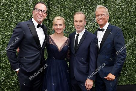 From left, Charlie Collier, Rhea Seehorn, Bob Odenkirk, and Parick Fabian arrive at the 71st Primetime Emmy Awards, at the Microsoft Theater in Los Angeles