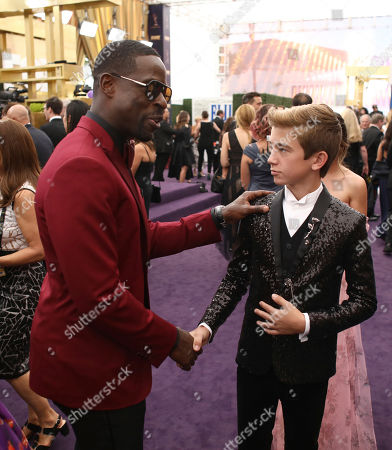 Parker Bates, Sterling K. Brown. Sterling K. Brown, left, and Parker Bates at the 71st Primetime Emmy Awards, at the Microsoft Theater in Los Angeles