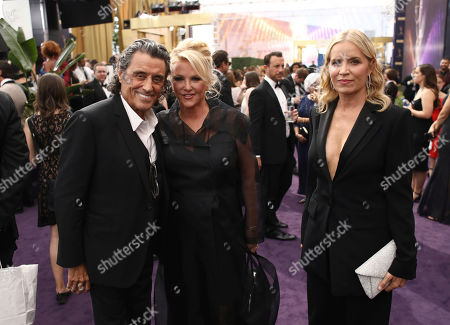 Ian McShane, Gwen Humble, Kim Dickens. Ian McShane, from left, Gwen Humble and Kim Dickens at the 71st Primetime Emmy Awards, at the Microsoft Theater in Los Angeles