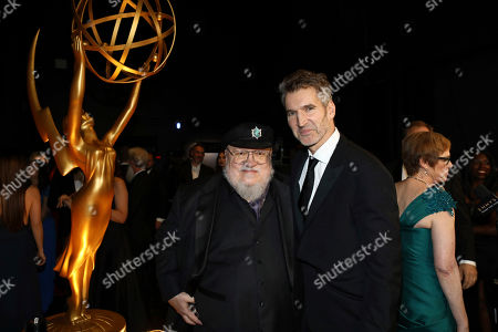 David Benioff, George R. R. Martin. George R. R. Martin, left, and David Benioff appear backstage at the 71st Primetime Emmy Awards, at the Microsoft Theater in Los Angeles