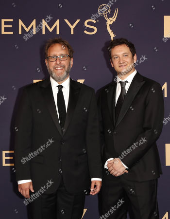 Josh Siegal (L) and Dylan Morgan (R) arrive for the 71st annual Primetime Emmy Awards ceremony held at the Microsoft Theater in Los Angeles, California, USA, 22 September 2019. The Primetime Emmys celebrate excellence in national primetime television broadcasting.