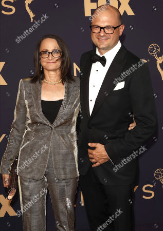 Nina Jacobson (L) and Brad Simposon (R) arrive for the 71st annual Primetime Emmy Awards ceremony held at the Microsoft Theater in Los Angeles, California, USA, 22 September 2019. The Primetime Emmys celebrate excellence in national primetime television broadcasting.