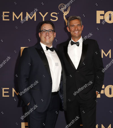 Stock Image of Joe Farrell (L) and Mike Farah (R) arrive for the 71st annual Primetime Emmy Awards ceremony held at the Microsoft Theater in Los Angeles, California, USA, 22 September 2019. The Primetime Emmys celebrate excellence in national primetime television broadcasting.