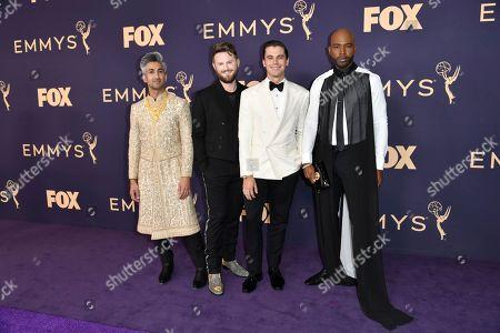 Tan France, Bobby Berk, Antoni Porowski, Karamo Brown. Tan France, from left, Bobby Berk, Antoni Porowski, and Karamo Brown arrive at the 71st Primetime Emmy Awards, at the Microsoft Theater in Los Angeles