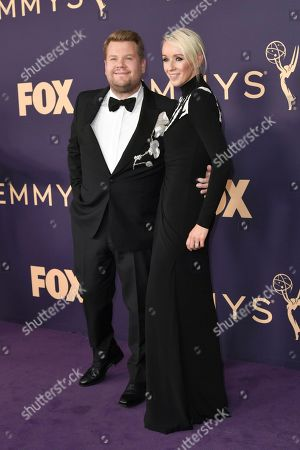 James Corden, Julia Carey. James Corden, left, and Julia Carey arrive at the 71st Primetime Emmy Awards, at the Microsoft Theater in Los Angeles