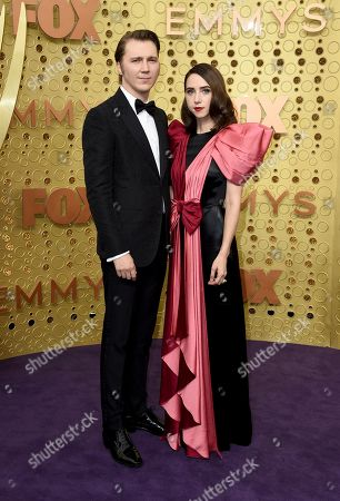 Stock Photo of Paul Dano, Zoe Kazan. Paul Dano, left, and Zoe Kazan arrive at the 71st Primetime Emmy Awards, at the Microsoft Theater in Los Angeles