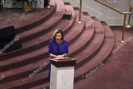 House Speaker Nancy Pelosi speaks at funeral services for Emily Clyburn, wife of House Majority Whip Jim Clyburn of South Carolina,, in West Columbia, S.C