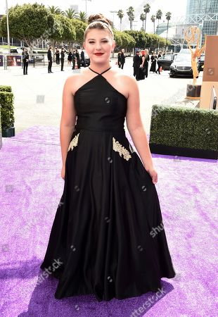 Mackenzie Hancsicsak arrives at the 71st Primetime Emmy Awards, at the Microsoft Theater in Los Angeles