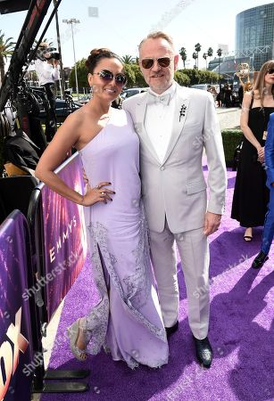 Allegra Riggio, Jared Harris. Allegra Riggio, left, and Jared Harris arrive at the 71st Primetime Emmy Awards, at the Microsoft Theater in Los Angeles