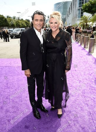 Ian McShane, Gwen Humble. Ian McShane, left, and Gwen Humble arrive at the 71st Primetime Emmy Awards, at the Microsoft Theater in Los Angeles