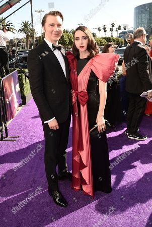 Zoe Kazan, Paul Dano. Zoe Kazan, left, and Paul Dano arrive at the 71st Primetime Emmy Awards, at the Microsoft Theater in Los Angeles