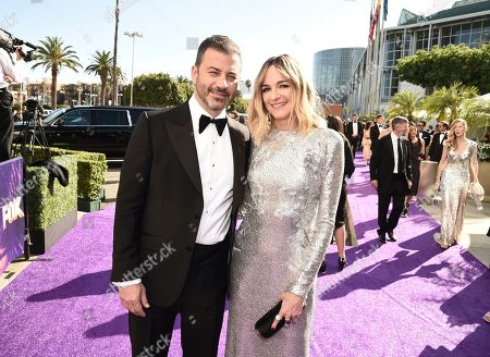 Jimmy Kimmel, Molly McNearney. Jimmy Kimmel, left, and Molly McNearney arrive at the 71st Primetime Emmy Awards, at the Microsoft Theater in Los Angeles