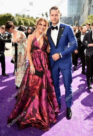 Chrishell Stause, Justin Hartley. Chrishell Stause, left, and Justin Hartley arrive at the 71st Primetime Emmy Awards, at the Microsoft Theater in Los Angeles