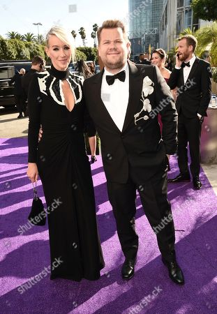 Julia Carey, James Corden. Julia Carey, left, and James Corden arrive at the 71st Primetime Emmy Awards, at the Microsoft Theater in Los Angeles