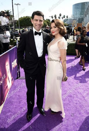 Max Greenfield, Tess Sanchez. Max Greenfield, left, and Tess Sanchez arrive at the 71st Primetime Emmy Awards, at the Microsoft Theater in Los Angeles