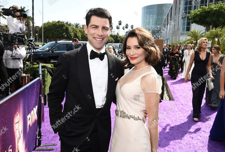 Max Greenfield, Tess Sanchez. Max Greenfield, left, and Tess Sanchez arrives at the 71st Primetime Emmy Awards, at the Microsoft Theater in Los Angeles