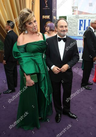 Caroline Aaron and Kevin Pollak arrive at the 71st Primetime Emmy Awards, at the Microsoft Theater in Los Angeles