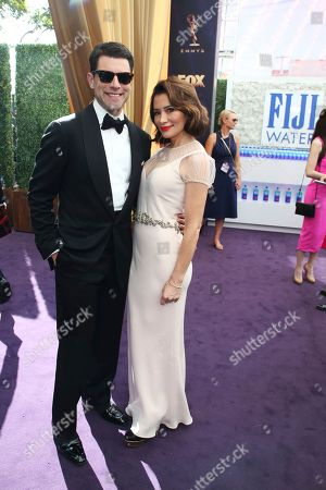 Max Greenfield, Tess Sanchez. Max Greenfield and Tess Sanchez arrive at the 71st Primetime Emmy Awards, at the Microsoft Theater in Los Angeles