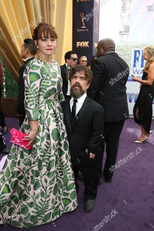 Erica Schmidt, Peter Dinklage. Erica Schmidt and Peter Dinklage arrive at the 71st Primetime Emmy Awards, at the Microsoft Theater in Los Angeles