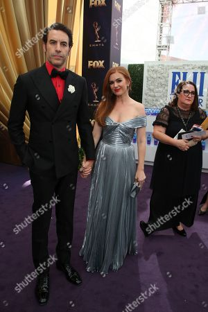 Sacha Baron Cohen, Isla Fisher. Sacha Baron Cohen and Isla Fisher arrive at the 71st Primetime Emmy Awards, at the Microsoft Theater in Los Angeles