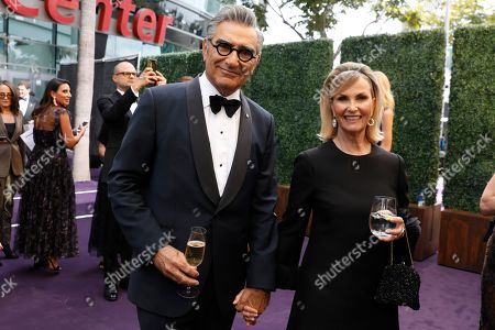 Eugene Levy and Deborah Divine arrivesat the 71st Primetime Emmy Awards, at the Microsoft Theater in Los Angeles