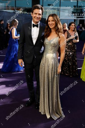 Jason Bateman and Amanda Anka arrives at the 71st Primetime Emmy Awards, at the Microsoft Theater in Los Angeles