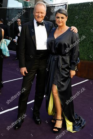 Stock Picture of Stellan Skarsgard, Megan Everett. Stellan Skarsgard and Megan Everett arrives at the 71st Primetime Emmy Awards, at the Microsoft Theater in Los Angeles