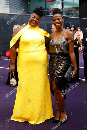 Nicole Byer and Sasheer Zamata arrives at the 71st Primetime Emmy Awards, at the Microsoft Theater in Los Angeles