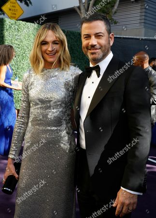 Stock Picture of Molly McNearney, Jimmy Kimmel. Molly McNearney, left, and Jimmy Kimmel arrive at the 71st Primetime Emmy Awards, at the Microsoft Theater in Los Angeles