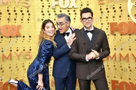 Eugene Levy, Daniel Levy, Annie Murphy. Annie Murphy, from left, Eugene Levy and Daniel Levy arrive at the 71st Primetime Emmy Awards, at the Microsoft Theater in Los Angeles