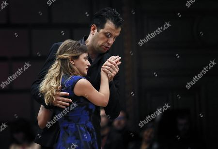 Stock Photo of Italian soprano Giulia Semezato (L), as Zerlina, and Italian bass-baritone Luca Pisaroni (R), as Don Giovanni, perform with the Basel Chamber Orchestra in the Mozart's opera 'Don Giovanni' on the stage of the Romanian Athenaeum concert hall during the George Enescu International Festival 2019, in Bucharest, Romania, 22 September 2019. The festival, held every two years since 1958, is the biggest classical music festival held in Romania, in honor of Romanian composer and violinist George Enescu. The 24th edition of the George Enescu International Festival takes place between 31 August and 22 September 2019.