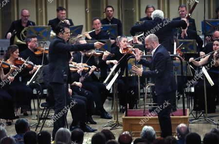 Italian bass-baritone Luca Pisaroni (L), as Don Giovanni, and Italian bass-baritone Alex Esposito (R), as Leporello, perform with the Basel Chamber Orchestra in the Mozart's opera 'Don Giovanni' on the stage of the Romanian Athenaeum concert hall during the George Enescu International Festival 2019, in Bucharest, Romania, 22 September 2019. The festival, held every two years since 1958, is the biggest classical music festival held in Romania, in honor of Romanian composer and violinist George Enescu. The 24th edition of the George Enescu International Festival takes place between 31 August and 22 September 2019.