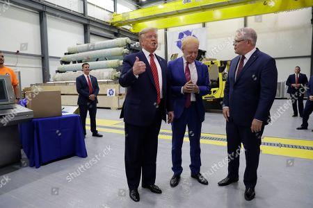 Donald Trump Scott Morrison. President Donald Trump speaks as Australian Prime Minister Scott Morrison and Pratt Industries chairman Anthony Pratt, center, watches during a tour of Pratt Industries, in Wapakoneta, Ohio