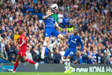 Andreas Christensen of Chelsea clears the ball with a header