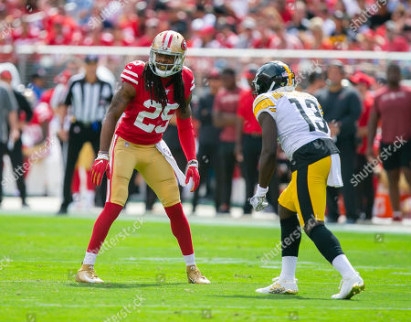 Stock Image of San Francisco 49ers cornerback Richard Sherman (25) in action during the NFL football game between the Pittsburg Steelers and the San Francisco 49ers at Levi's Stadium in Santa Clara, CA. The 49ers defeated the Steelers 24-20