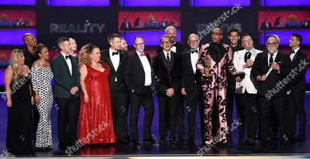 "Pamela Post, Tim Palazzola, Randy Barbato, Fenton Bailey, Tom Campbel, RuPaul Charles, Steven Corfe, Mandy Salangsang, Bruce McCoy, Michele Mills, Jacqueline Wilson, Thairin Smothers, John Polly, Michelle Visage, Jen Passovoy, Ross Mathews, Carson Kressley. The team from ""RuPaul's Drag Race"" accepts the award for outstanding competition program at the 71st Primetime Emmy Awards, at the Microsoft Theater in Los Angeles"