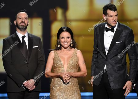 Julia Louis-Dreyfus, Tony Hale, Timothy Simons. Tony Hale, from left, Julia Louis-Dreyfus and Timothy Simons appear onstage at the 71st Primetime Emmy Awards, at the Microsoft Theater in Los Angeles