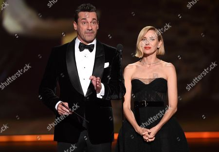 Stock Picture of Jon Hamm, Naomi Watts. Jon Hamm, left, and Naomi Watts present the award for outstanding limited series at the 71st Primetime Emmy Awards, at the Microsoft Theater in Los Angeles
