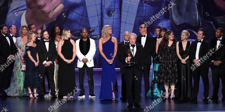 "Stock Picture of Lorne Michaels, Ken Aymong, Lindsay Shookus, Erin Doyle, Tom Broecker, Steve Higgins, Erik Kenward. The team from ""Saturday Night Live"" accepts the award for outstanding variety sketch series at the 71st Primetime Emmy Awards, at the Microsoft Theater in Los Angeles"