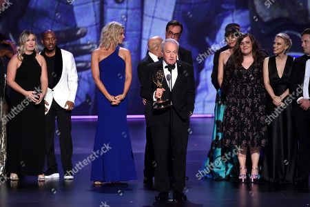 "Stock Photo of Lorne Michaels, Ken Aymong, Lindsay Shookus, Erin Doyle, Tom Broecker, Steve Higgins, Erik Kenward. The team from ""Saturday Night Live"" accepts the award for outstanding variety sketch series at the 71st Primetime Emmy Awards, at the Microsoft Theater in Los Angeles"