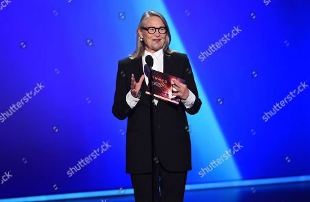 Cherry Jones presents the award for outstanding writing for a drama series at the 71st Primetime Emmy Awards, at the Microsoft Theater in Los Angeles