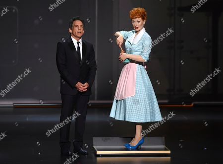 Ben Stiller appears onstage with a wax figure of Lucille Ball at the 71st Primetime Emmy Awards, at the Microsoft Theater in Los Angeles
