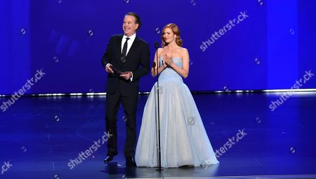 Stock Picture of Timothy Hutton, Brittany Snow. Timothy Hutton, left, and Brittany Snow present the award for outstanding directing for a drama series at the 71st Primetime Emmy Awards, at the Microsoft Theater in Los Angeles