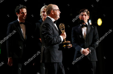 "Harry Bradbeer, Luke Kirby, Jane Lynch. Harry Bradbeer accepts the award for outstanding directing for a comedy series for ""Fleabag"" at the 71st Primetime Emmy Awards, at the Microsoft Theater in Los Angeles"