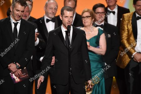 """D. B. Weiss and the team from """"Game Of Thrones"""" accepts the award for outstanding drama series at the 71st Primetime Emmy Awards, at the Microsoft Theater in Los Angeles"""