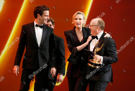 "Jane Lynch, Harry Bradbeer. Luke Kirby, from left, Jane Lynch, and Harry Bradbeer, with the award for outstanding directing for a comedy series for ""Fleabag"", at the 71st Primetime Emmy Awards, at the Microsoft Theater in Los Angeles"