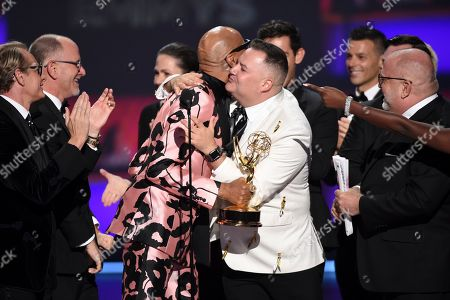 "Ross Mathews, Carson Kressley, RuPaul Charles, Tim Palazzola. The team from ""RuPaul's Drag Race"" accepts the award for outstanding competition program at the 71st Primetime Emmy Awards, at the Microsoft Theater in Los Angeles"