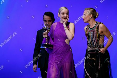 "Julia Garner, Kristen Bell. Kristen Bell, right, and Julia Garner, winner of the award for outstanding supporting actress in a drama series for ""Ozark,"" at the 71st Primetime Emmy Awards, at the Microsoft Theater in Los Angeles"