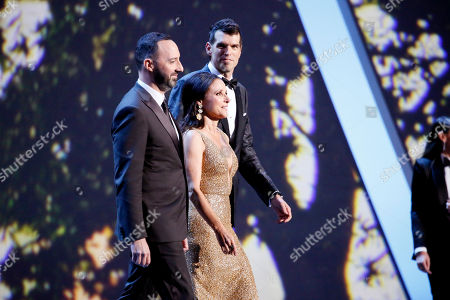 Tony Hale, Julia Louis-Dreyfus, Timothy Simons. Tony Hale, from left, Julia Louis-Dreyfus and Timothy Simons present the award for outstanding lead actress in a limited series or movie at the 71st Primetime Emmy Awards, at the Microsoft Theater in Los Angeles