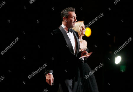 Jon Hamm, Naomi Watts. Jon Hamm, left, and Naomi Watts present the award for outstanding limited series at the 71st Primetime Emmy Awards, at the Microsoft Theater in Los Angeles